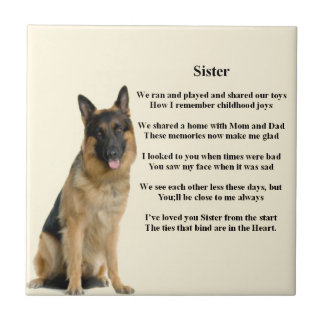Sister Poem - German Shepherd Dog Small Square Tile