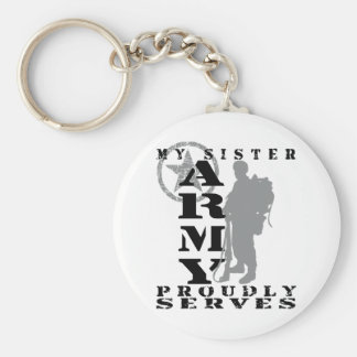 Sister Proudly Serves - ARMY Basic Round Button Keychain