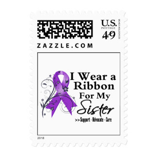 Sister Purple Ribbon - Pancreatic Cancer Postage Stamps