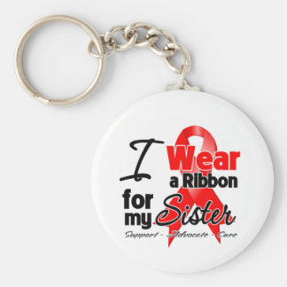 Sister - Red Ribbon Awareness Keychain