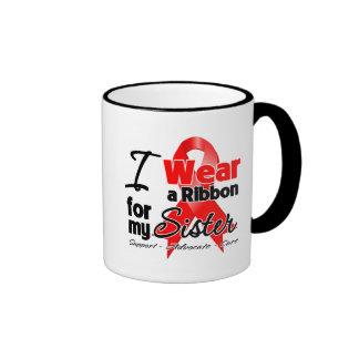 Sister - Red Ribbon Awareness Coffee Mugs