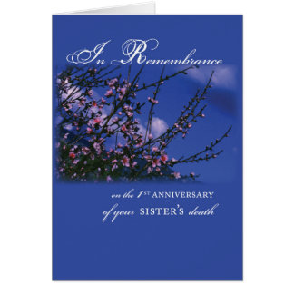 Sister, Remembrance 1st Anniversary Card