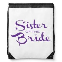 Sister Retro Script Purple Drawstring Bag