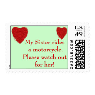 Sister rides a Motorcycle, watch out for him Postage