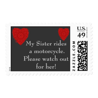 Sister rides a Motorcycle, watch out for him Postage Stamp
