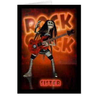 Sister Rock Chick Birthday Card Moonies rag doll r