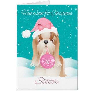Sister Shih Tzu Dog With Cute Santa Hat An Ornamen Card