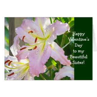 Sister Sisters Happy Valentine's Day Card Pink