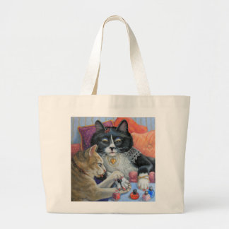 """""""Sister Stuff""""  Two kitty sisters doing nails Large Tote Bag"""