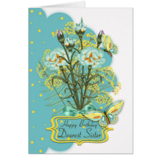 sister, summer color birthday card with carnations