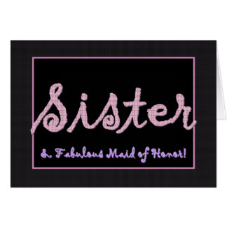 SISTER Thank You Maid of Honor - Plaid Lettering Card