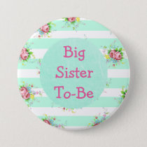 Sister to Be Baby Shower Button Mint Green  Pink