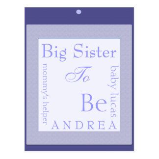 Sister to be baby shower decoration postcard
