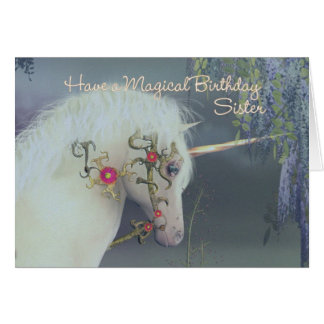 Sister Unicorn Birthday Card Magical Birthday