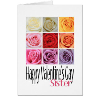 Sister Valentine's Gay, Rainbow Roses Card