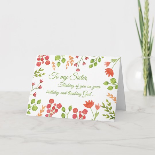 Sister Watercolor Flowers Religious Birthday Card