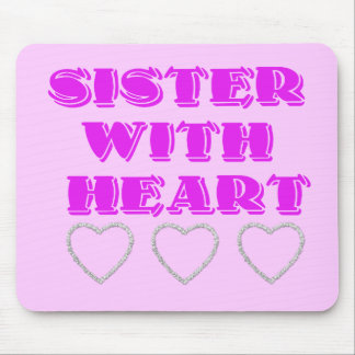 Sister with heart mouse pads