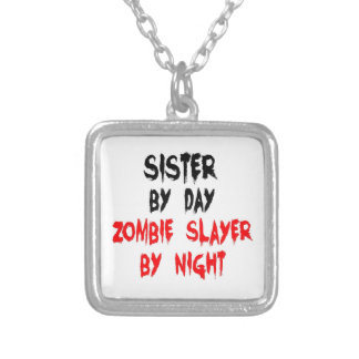 Sister Zombie Slayer Square Pendant Necklace