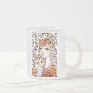 Sisterhood of the White Owl Frosted Glass Coffee Mug