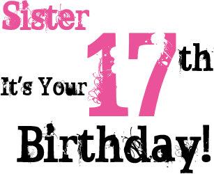 sisters 17th birthday greeting in black pink card