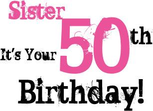 Sisters 50th Birthday Greeting In Black Pink Card
