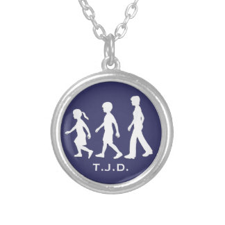 Sisters and Brother: Sibling Silhouettes Round Pendant Necklace