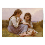Sisters and Flute Music by Bouguereau Greeting Card