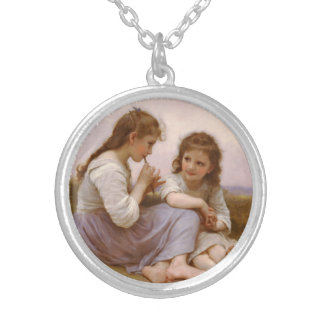 Sisters and Flute Music by Bouguereau Round Pendant Necklace