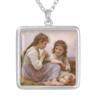 Sisters and Flute Music by Bouguereau Square Pendant Necklace