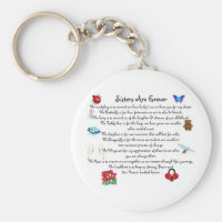 Sisters Are Forever Poem Keychain