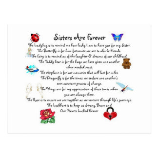 Sisters Are Forever Poem Postcard