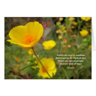 Sisters Are Special Poem Yellow Poppy Card