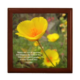 Sisters Are Special Poem Yellow Poppy Jewelry Box