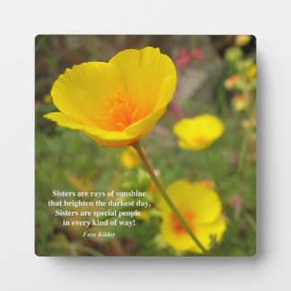 Sisters Are Special Poem Yellow Poppy Plaque
