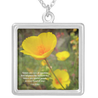Sisters Are Special Poem Yellow Poppy Silver Plated Necklace