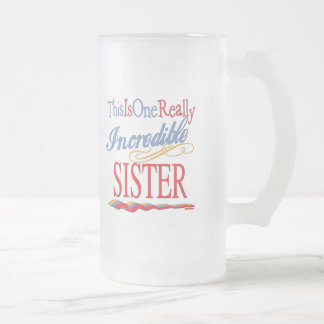 Sisters: Big Little and Middle Frosted Glass Beer Mug