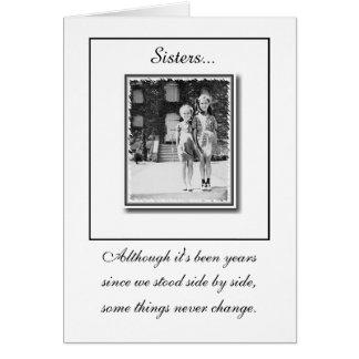 """Sisters"" Birthday Card -Black&White"