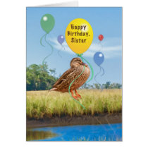 Sister's Birthday Card with Duck and Balloons