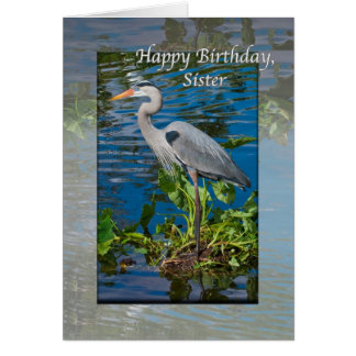 Sister's Birthday Card with Great Blue Heron