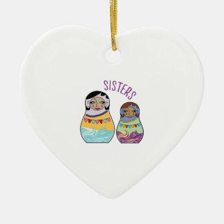 Sisters Ceramic Ornament