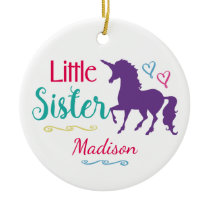 Sisters Colorful Unicorn Little Sister Christmas Ceramic Ornament