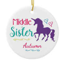 Sisters Colorful Unicorn Middle Sister Christmas Ceramic Ornament