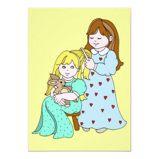 Sisters Combing Hair Card