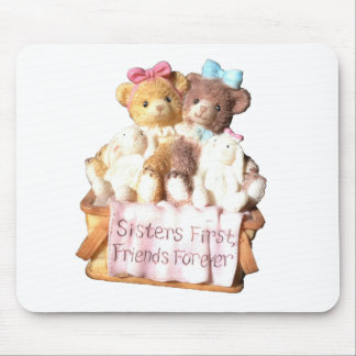 Sisters First Friends Forever Teddy Bears Mouse Pad