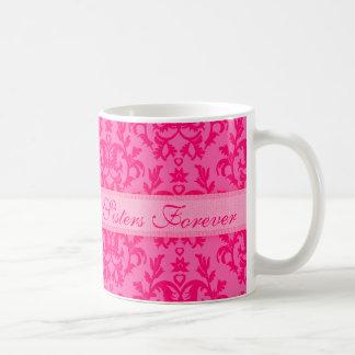 Sisters Forever damask hot pink mug