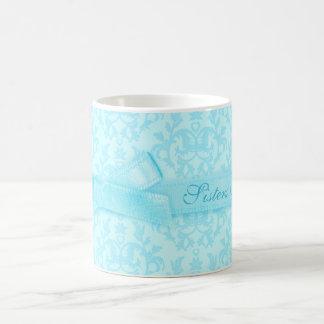 Sisters Forever damask pale blue mug