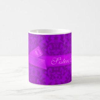 """Sisters Forever"" damask purple mug"