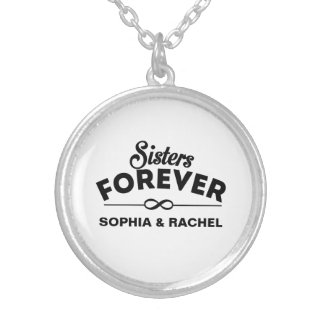 Sisters Forever - Insert names Silver Plated Necklace