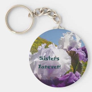 Sisters Forever! keychain Purple White Iris Flower