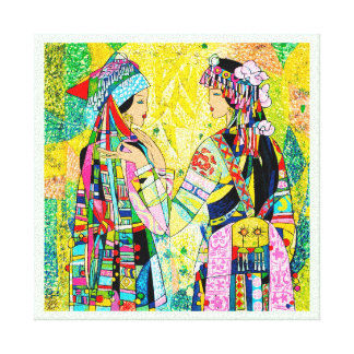 Sisters Hao Ping oriental abstract ladies girls Canvas Print